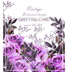vintage card with roses realistic stylish vector image