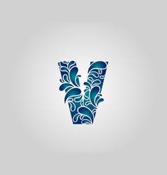 Water splash letter v logo icon droplets vector