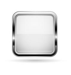 White button 3d square glass icon vector