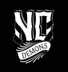 with label logotype no demons inside for no vector image