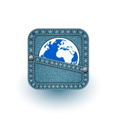 World in pocket Realistic denim eps10 vector