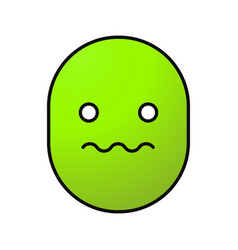 Worried smiley color icon vector