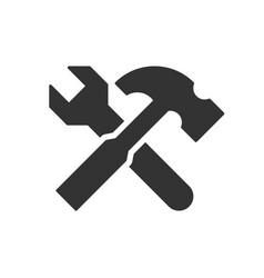 Wrench and hammer icon vector