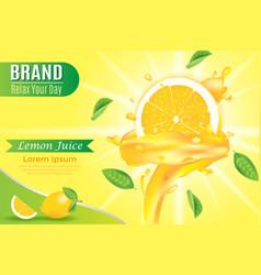 yellow liquid juicy swirled on orange slice with vector image