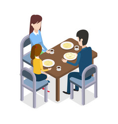 At restaurant familly sitting at dining table vector