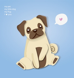 my pug cute vector image vector image