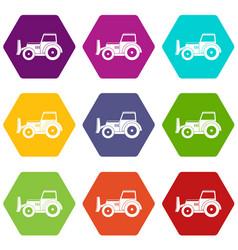 Skid steer loader icon set color hexahedron vector
