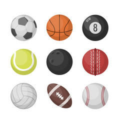 sports balls set basketball soccer vector image