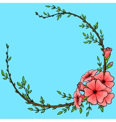 Vintage background with cartoon flower wreath vector image vector image