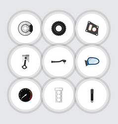 Flat icon component set of wheel input technology vector
