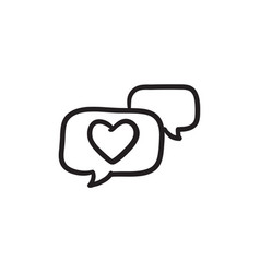 heart in speech bubble sketch icon vector image