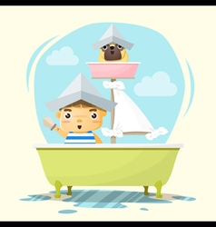 Little boy captain and friend vector image