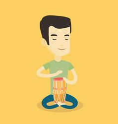 Man playing ethnic drum vector