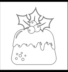 traditional christmas pudding with holly vector image vector image