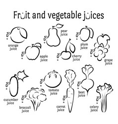 icons of fruits and vegetables juices vector image