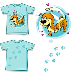 Shirt with Cute Dachshund carries on his back a vector image