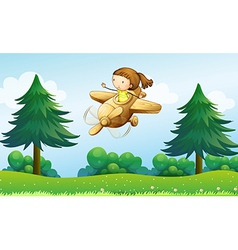 A wooden plane with a young girl vector image vector image