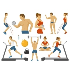 Fitness Decorative Flat Icons Set vector image vector image
