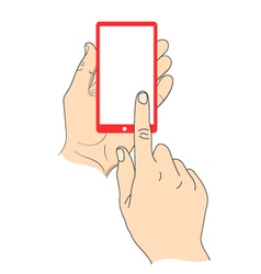 Hand touching smartphone with blank white screen vector image vector image