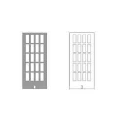 Sky tower building grey set icon vector