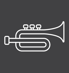 trumpet line icon music and instrument vector image vector image