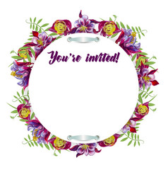 watercolor flowers in a circle vector image