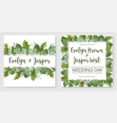 2 watercolor set of garden foliage template of vector image