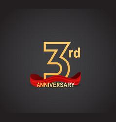 3 anniversary logotype design with line golden vector