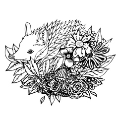 Abstract graphic hedgehog print vector image