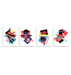 abstract set modern geometric shapes vector image