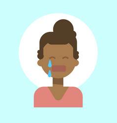 African american female cry emotion profile icon vector