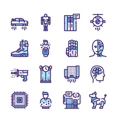 ai color linear icons set vector image