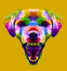 angry colorful dog head on pop art style vector image