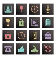 Black media icons vector