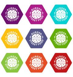 Burger street food icons set 9 vector