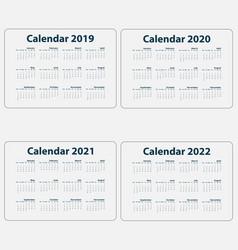 Calendar 2019 2020 2021 vector