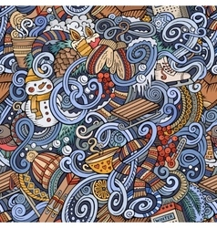 Cartoon doodles Winter season seamless pattern vector image