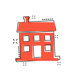 cartoon house icon in comic style building sign vector image