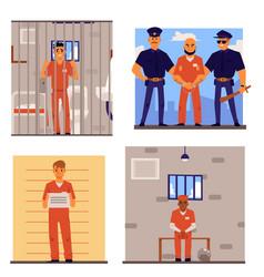 cartoon set criminal men in prison uniform in vector image
