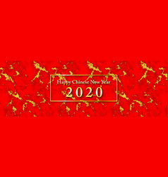 chinese new year 2020 with red and gold texture vector image