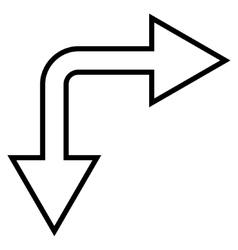 Choice Arrow Right Down Outline Icon vector image