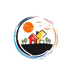 circular logo garden home vector image