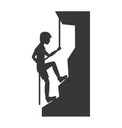 Climbing mountain isolated icon design vector