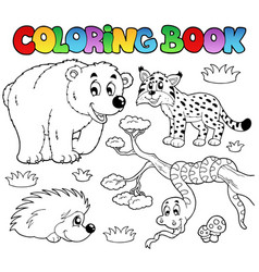 coloring book with forest animals 3 vector image