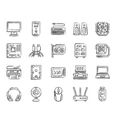 Computer charcoal draw line icons set vector