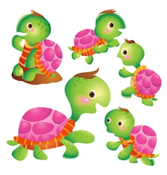 Cute turtle cartoon pink vector