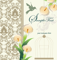 Damask wedding invitation ornate with calla lily vector