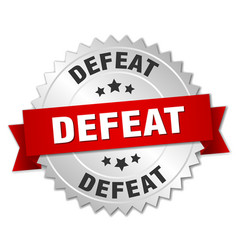 Defeat round isolated silver badge vector