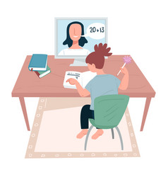 Distant studies girl talking to tutor via vector