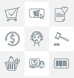 e-commerce icons line style set with auction vector image